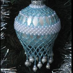 Blue Beaded Christmas Ornament Cover by AroundBeads on Etsy