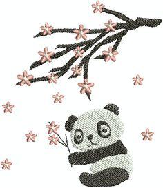 Digital Embroidery Design  Panda & Cherry by EmbroideryDesignsBRN