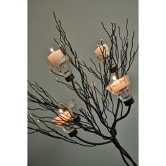 Metal Candle Tree W/Clear Holders