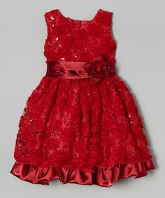 Take+a+look+at+the+Red+Floral+Ruffle+Dress+-+Infant,+Toddler+&+Girls+on+#zulily+today!