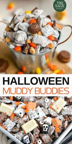 Any of these 10 Halloween muddy buddies and puppy chow recipes would make the perfect treat for parties, classrooms or just as a snack. Puppy Chow Snack, Puppy Chow Recipes, Snack Mix Recipes, Fall Recipes, Holiday Recipes, Recipe Puppy, Holiday Desserts, Fall Snack Mixes, Fall Snacks