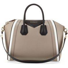 Givenchy Antigona Small Tricolor Satchel Bag,Taupe/White/Black (66 845 UAH) ❤ liked on Polyvore featuring bags, handbags, purses, givenchy, bolsas, tote hand bags, zippered tote, man bag, black and white handbags and zip top tote bag
