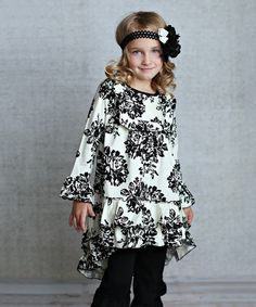 Another great find on #zulily! Cream & Black Floral Hi-Low Tunic - Infant, Toddler & Girls by Lollies and Lace Boutique #zulilyfinds