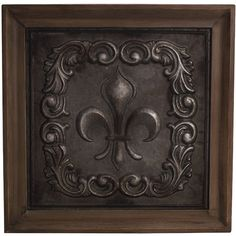 Bombay Antique Scroll Fleur Plaque featuring polyvore, home, home decor, wall art, brown, textured wall art, brown wall art and scroll wall art