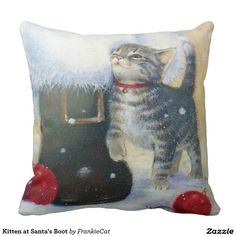 Kitten at Santa's Boot Throw Pillow