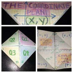 A coordinate plane foldable that I use for the interactive math notebook.  Need:  A square of graph paper, colored pencils