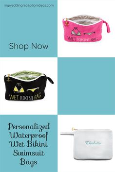 Getting married on or near the beach. Give your bridesmaids a wet bikini swimsuit bag personalized with their name to carry in their beach bag. #beachwedding Beach Wedding Bridesmaids, Bridesmaid Gifts, Pack Up, Bikini Swimsuit, Swimsuits, Bikinis, Maid Of Honor, Wetsuit, Shopping Bag