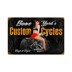 Bone Yard Cycles Vintage Metal Sign 18 x 12 Inches Custom Cycles, Retro Pin Up, Garage Signs, Vintage Metal Signs, Automotive Decor, Easy Rider, Office Wall Decor, Pin Up Art, My Ride