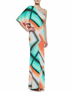 T7S1D Trina Turk Sausalito One-Shoulder Maxi Dress