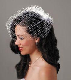 Hair down with veil.