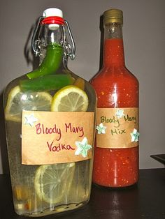 Bloody Mary Vodka + Home-made Bloody Mary Mix -- Homemade Gifts & Goodies : Runway Chef Homemade Alcohol, Homemade Liquor, Homemade Gifts, Homemade Liqueur Recipes, Diy Gifts, Cocktail Drinks, Fun Drinks, Yummy Drinks, Alcoholic Drinks
