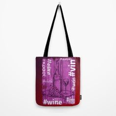 'Hashtag Wine' Tote bag.  Hand-drawn illustration @Society6 , texturised, colorised and with various translations. #totebags #winebag #wine #vino #viini #vin #wein #winelovers #winegifts #bags #vintage #society6 #carryall #fashion #winestyle #barenecessities #shopping