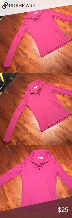 RASPBERRY HOLLISTER RIBBED LACE LONG SLEEVE! Brand new!  A new twist on the classic polo. Updated with a lace-up neckline featuring silver eyelets, comfortable ribbed texture, Slim 95% Viscose 5%elastane Hollister Tops Blouses