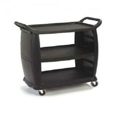 Large Utility Cart, 3 Shelf Cart, 300 Lb. Capacity, Black