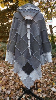 Grey Hooded Poncho & Matching Arm Warmers by SewFreakinHappy
