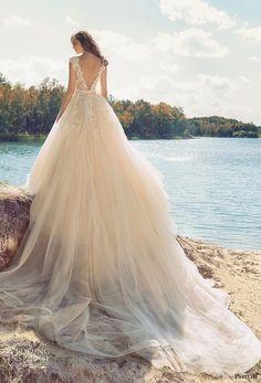 papilio 2017 bridal cap sleeves v neck heavily embellished bodice tulle skirt romantic blush color a  line wedding dress open low v back royal train (hornbill) bv -- Papilio 2017 Wedding Dresses