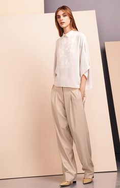 Double georgette top, with guipure plastron detail Stretch mix wool twill pants