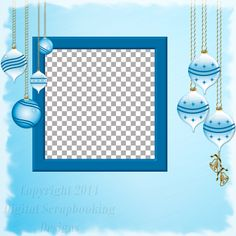 "Layout QP 22B.....Quick Page, Blue, Digital Scrapbooking, Christmas Time Collection, 12"" x 12"", 300 dpi, PNG File Format"