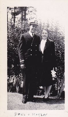 Uniformed Air Force officer posing with his Mother. May 1944.
