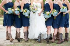 Blue Bridesmaids Dresses   Southern Country Style Wedding from rusticweddingchic.com Found this, it's one of my brides from last year!!!