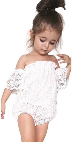 Color : White, Size : 12M-24M Puseky Infant Baby Girls Floral Ruffled Romper Princess Off Shoulder Jumpsuit Bodysuit