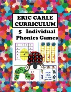 5 innovative, engaging Common Core aligned phonics games for first graders, all inspired by Eric Carle's literature! Gameboards are formatted on letter size paper for easy management and individual use. A detailed lesson plan, directions for each game, printables, and everything you need right here--these games are ready for your students to play! They focus on Wilson Fundations topics, and can be used to supplement any phonics program.
