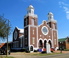Brown Chapel AME Church at Selma, AL (built in 1908, played a major role in the Civil Rights Movement, added to the Alabama Register of Landmarks and Heritage in 1976 and declared a National Historic Landmark in 1982). ---- For additional details, go to www.ruralswalabama.org/attractions/selmas-brown-chapel-ame-church/.