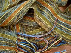 handwoven scarf, olive with bamboo ribbon lariat. $42.00, via Etsy.