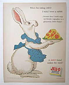 1954 Jell-o Lemon Gelatin Dessert With Mother Rabbit