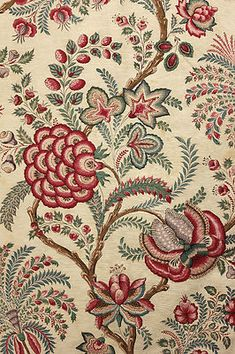 Fabulous Indienne design antique French fabric ~ c 1850 ~ wonderful hand block printed linen and cotton blend ~ stunning large scale design ~ www.textiletrunk.com