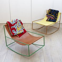 Styled rockers, neat shaped metal frame with leather seat,mgr eat frame colours.  Styled with Welsh blankets.