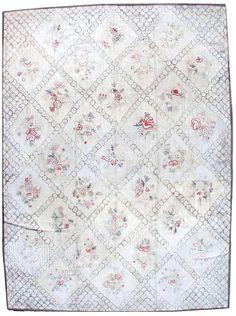 Vintage rugs european american hooked rag ivory botanical geometric bb0436 12x9