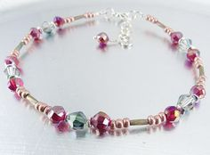 Beaded Ankle Bracelet - Fuchsia, Crystal and Silver Glass Anklet by mmojewelry on Etsy Beaded Jewelry Designs, Handmade Jewelry, Bead Jewelry, Bugle Beads, Seed Beads, Rainbow Glass, Ankle Bracelets, Anklets, Making Ideas