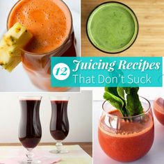 12 Juicing Recipes That Don't Suck Ever tried to DIY juice? Too much of this, not enough of that, and you quickly end up with a funky-tasting experiment. We've taken the guesswork out of the equation with these juicing recipes that are just as good as they are good for you. (And in case you forgot, here's how to juice for your health.)