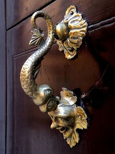 ornate brass door knocker.