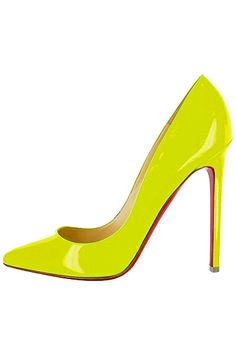 Christian Louboutin Neon Yellow Patent Pigalle Pumps Spring Summer 2012 #CL #Louboutins #Shoes
