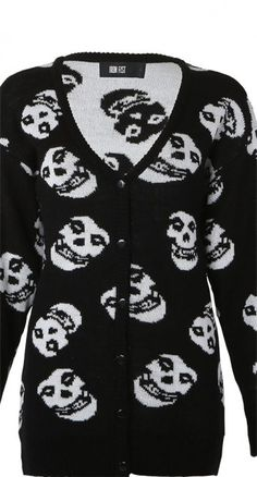 When it's just one of those days, you need a go-to cozy knit like this punk rock Misfits cardigan. #blamebetty #misfits #cardigan