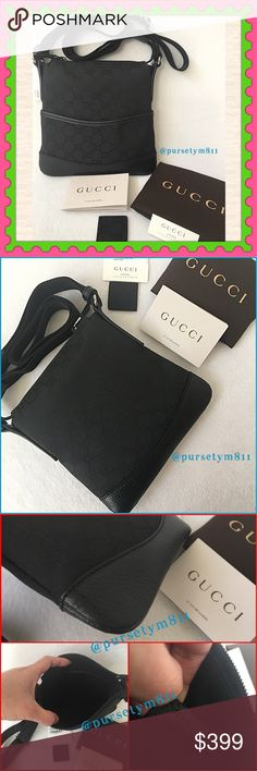 "Authentic Gucci Black Handbag 100% AUTHENTIC. Gorgeous Gucci shoulder & messenger bag. Lightweight & spacious. Approximate measurements: Length 7 3/4"" Height 7"" w/ adjustable strap. Zipper top closure w/ interior & exterior compartment. New w/ tag, dust bag, booklet, card & included. TIMELESS AND CLASSIC PIECE! Don't miss it. NO TRADE ❌ Price is firm. Gucci Bags"