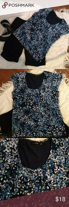 NEW W/Tags- Ladies Top- Size XL- Ruffled Tiered This top is Very Cute It's  Ruffled Tiered  Shades of Navy,Cobalt,Teal, and White Cute design and figure flattering Scoop neck  Ruffle Cap sleeves Size XL  *Black Bermudas also for sale in my closet* Apt. 9 Tops Blouses