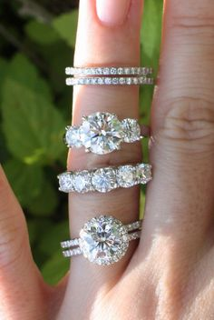 Halo Diamond Ring, Three-Stone Ring, Five-Stone Ring, and Pavé Diamond Eternity Bands ~ I would have a difficult time picking 'just one' ring.....I want all four!