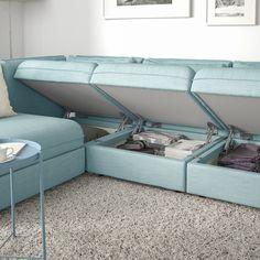VALLENTUNA Modular corner sofa, with storage/Hillared light blue. One sofa, lots of possibilities. Modular Furniture, Table Furniture, Furniture Design, Diy Sofa, Sofa Design, Ikea Vallentuna, Bed Ikea, Plywood Storage, Ikea Storage