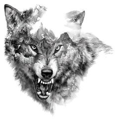 Cool Snarling Wolf Tattoo Design
