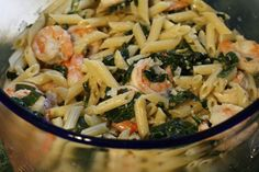 This baked shrimp and pasta dinner is proof that simple doesn't have to mean boring. Creamy orzo, feta and cooked-to-perfection shrimp are the stars of this Mediterranean-inspired dinner that's begging to be part of your weeknight lineup. Shrimp Pasta Recipes, Fish Recipes, Seafood Recipes, Cooking Recipes, Healthy Recipes, Pasta Meals, Korean Recipes, Penne Pasta, Keto Recipes