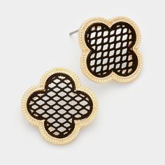 "• Color : Gold, Rose Gold  • Theme : Clover  • Size : 0.8"" W  • Post Back  • Two tone metal quatrefoil clover stud earrings 