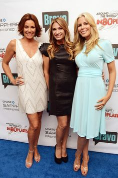 "Cast members of ""The Real Housewives of New York City"" LuAnn de Lesseps, Heather Thomson and Aviva Drescher attend Bravo's ""Around The World In 80 Plates"" Finale Celebration at Metropolitan Pavilion on July 12, 2012"