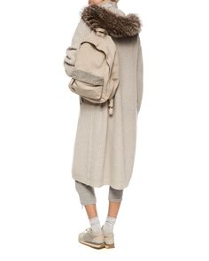 Brunello Cucinelli Fox Fur-Trimmed Hooded Cashmere-Blend Ribbed Coat, Two-Ply Cashmere Top, Jogger Pants & Backpack