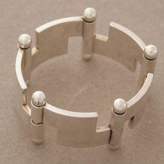 Gallery 925 - Hans Hansen Bold Modernist Bracelet , Handmade Sterling Silver