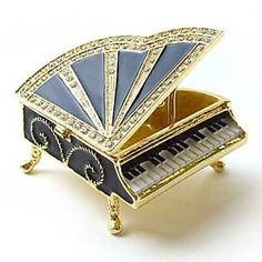 Amazon.com: Black Piano Keepsake Box Swarovski Crystals 24K Gold Jewelry Trinket Pill Box...: Jewelry