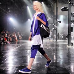 "adidaswomen's photo: Say hello to ""Sporty Elegance"": @Y-3 killed it at the #mbfw show last night. Think ombre, tie-dyes and stripes for #SS14 - and a healthy dose of #purple"