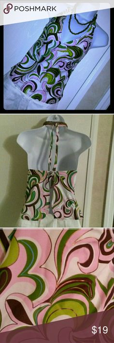 💖 Tankini Top Bikini Swimsuit Small, med large This tankini top is really cute! The listing is for the top ONLY! It is Mossimo, new with tags & has removable padding. It is a size small but it ties & could fit medium, large & probably even xl! It has a pink, green, white, brown, lime green, gold/bronze, & light blue paisley print so it would match many different color bottoms. I give great discounts (the more you buy, the more you save)!! I have lots of $1 add on items.  Everything is…